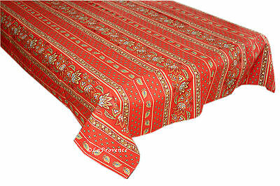 "Le Cluny 60"" x 96"" Rectangular COATED Provence Tablecloth - Lisa Red"