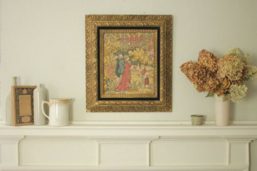Tapestry Antique Arts & Crafts French framed look distressed shabby chic fabric