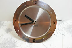 VINTAGE HOFFRITZ STAINLESS STEEL DESKTOP/TABLE TOP CLOCK! EASY TO READ! QUARTZ!