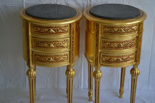 PAIR OF NIGHTSTANDS LXVI STYLE BEDSIDE TABLES PEDESTAL TABLES GOLD