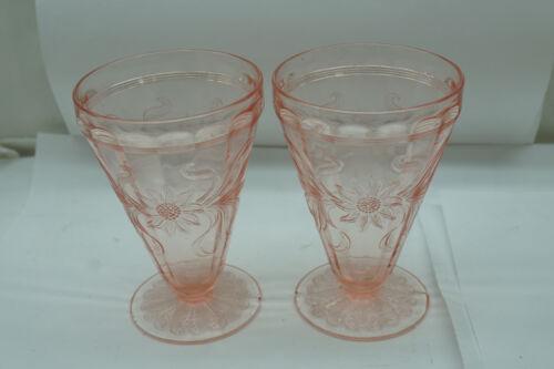 VINTAGE DEPRESSION GLASS SUNFLOWER PATTERN SET 2 FOOTED TUMBLERS PINK JEANNETTE
