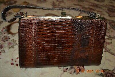 1940s Handbags and Purses History Gorgeous VTG 1940s Crocodile Alligator Skin (Brown) Handbag Purse with Clasp  $95.00 AT vintagedancer.com