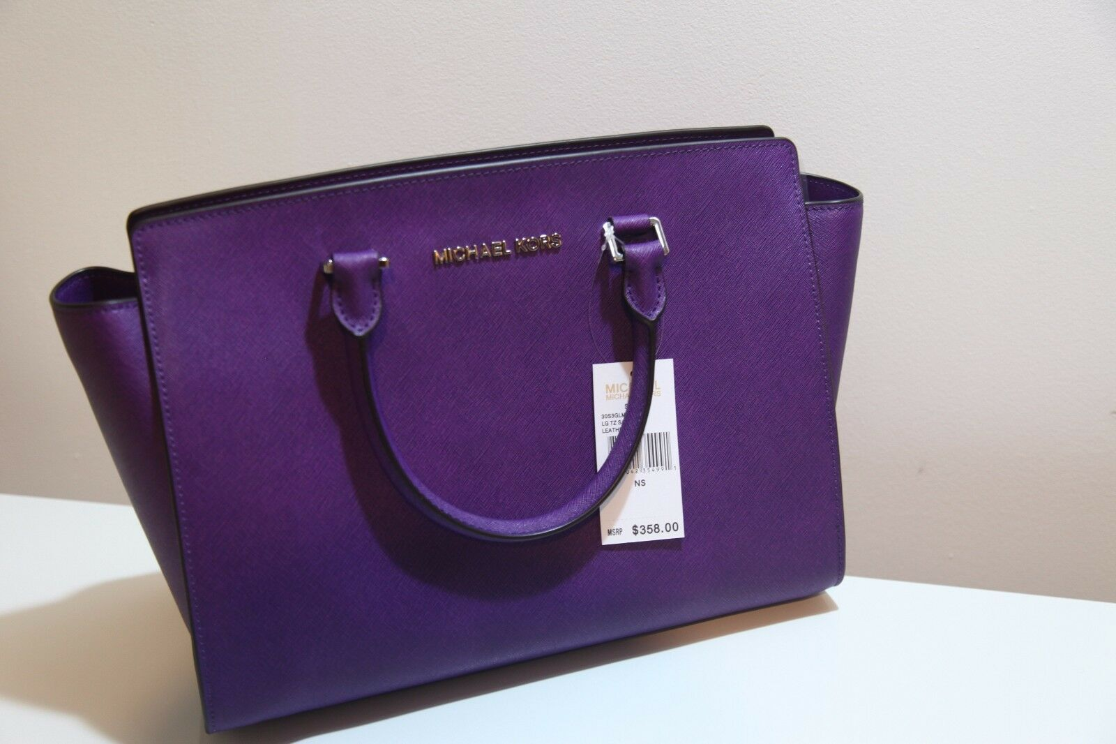 Michael Kors Selma Large Leather Saffiano Satchel - Price Tag,care Card, Qr Code