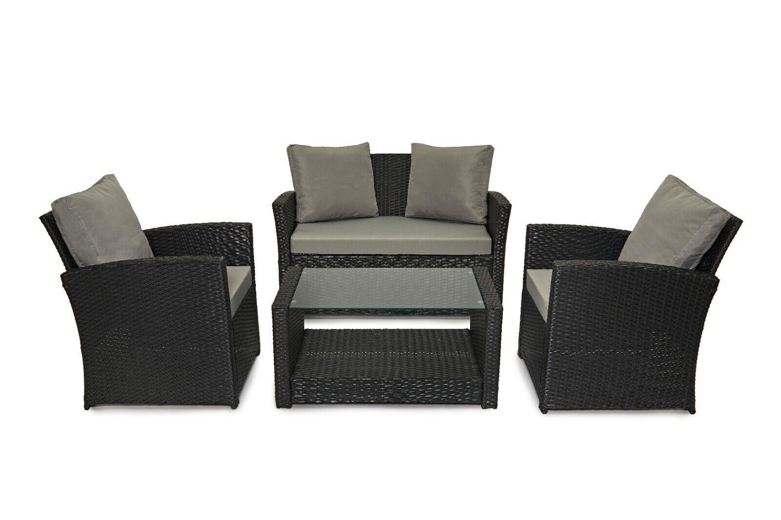 Garden Furniture - Evre Rattan 4 Piece Patio Furniture Set Outdoor Conservatory Garden Set Roma