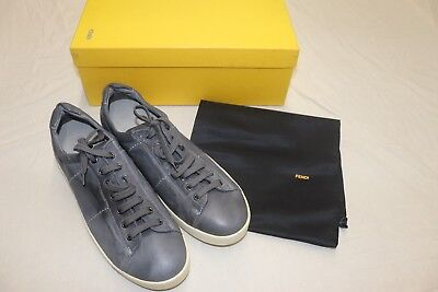 Fendi Grey Leather Sneakers Size 11 New in Box