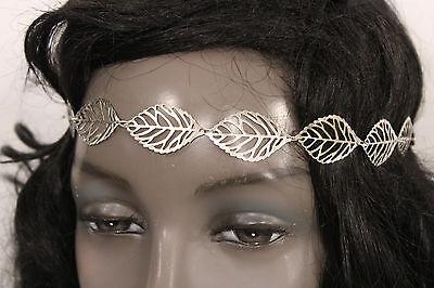 New Women BIg Silver Metal Leaves Head Chain Band Fashion Hair Jewelry Elastic
