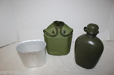 NEW-Military Style Plastic Canteen Metal Cup G.I. Army Green Nylon Canteen Cover