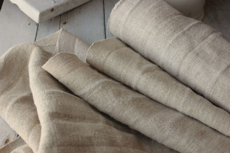 Antique hemp material WASHED 6.7 yards Cutting upholstery fabric homespun