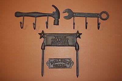 (4) Cast Iron Rustic Tools Wall Hooks, Bullshit Corner Plaque,Texas Boot Scraper