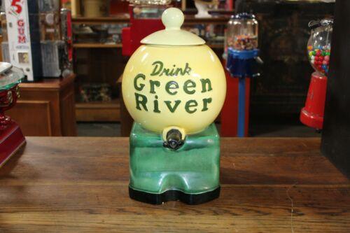 1930s Vintage Drink Green River Ceramic Soda Syrup Counter top Dispenser