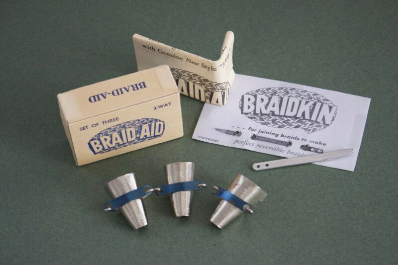 Vtg Braid-Aid Rug Making Set of 3 Original Box, Instructions, Also a Braidkin