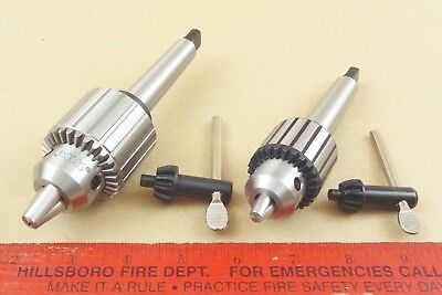 Set New Genuine Jacobs 38 12 Cap Mt2 Tailstock Drill Chucks Machinist Lathe