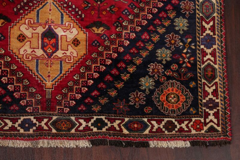Vintage Tribal Abadeh Geometric Oriental Area Rug Wool Hand-Knotted 6