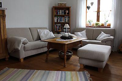 Sofa, Zweisitzer, Dreisitzer, Hocker,  Beige Sand, Couch, Ewald Schilling - Sand Mikrofaser Sofa