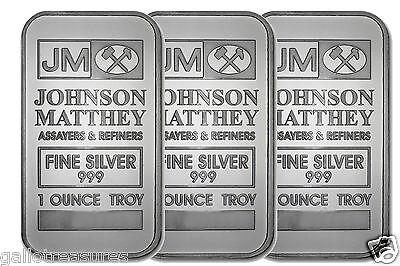Three JOHNSON MATTHEY Fine Silver 999 1 Ounce Troy Bar