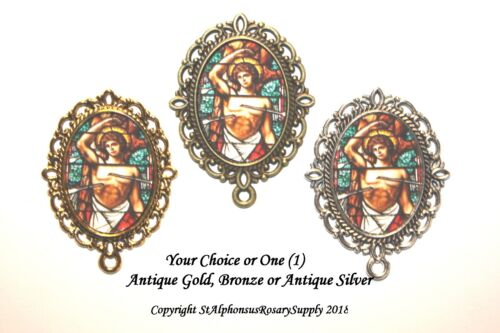 One (1) St. Sebastian Rosary Center# 1| Choice of Silver/ Bronze/Antique Gold