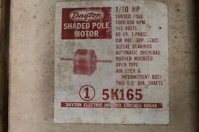 Dayton Shaded Pole Motor - 110hp - 115v - 1000850rpm - 5k165