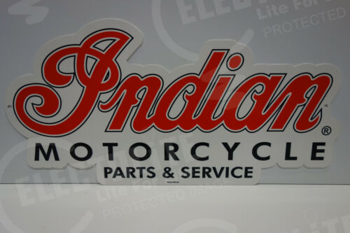 """INDIAN MOTORCYCLE PARTS & SERVICE DEALER SIGN. 11 1/2"""" BY 23"""". VERY COLORFUL!"""