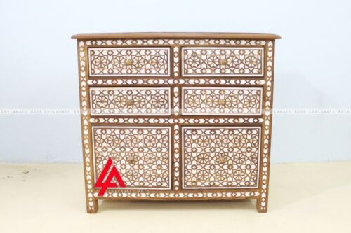 Mother Of Pearl Moroccan Design Chest Of 6 Drawer Sideboard