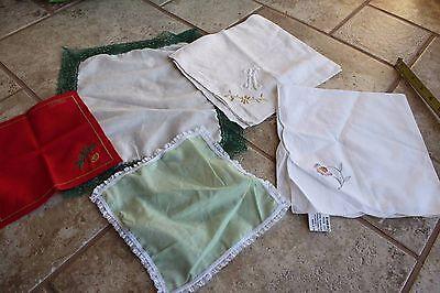 5 ladies vintage handkerchief lot hankie flower embroidered Swiss lace hanky