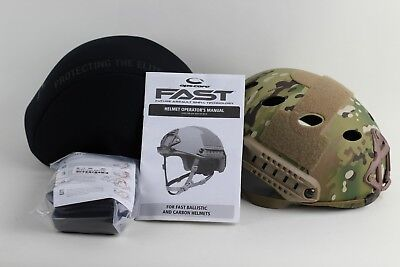 Ops-Core Fast Carbon High Cut Helmet Multicam w/ Skelton Shroud Large/XL NIB New