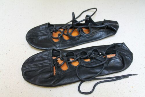 "Ghillies 8-1/4"" Size 5 Irish Highland Black Dance Soft Shoes"