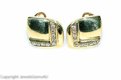 Vintage 18K Yellow Gold 0.35 ct Diamond Earrings Omega ITALY Numbered