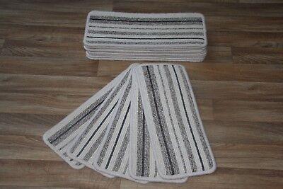 Läufer Pads (14 Cream Stripey Hard Wearing Carpet Stair Case Treads Vouge 312 Stripe Pads 14)