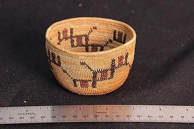 """Mint Polychrome Mono Basket 2 1/4"""" x 3 1/2"""" c.1920"""