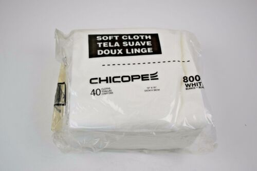 "Lot of 30 Bags - Chicopee 8007 Soft Cloth, 13"" x 15"", 40 / Bag, White (NEW)"