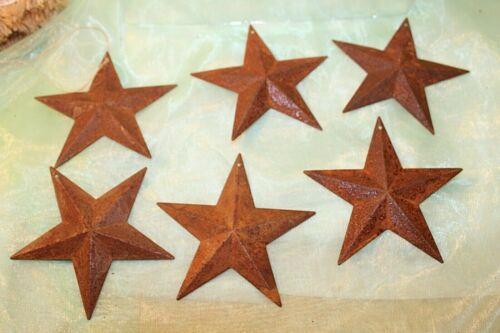 "Lot of 6 Rustic Rusty Primitive Tin Metal Barn Star Ornaments~Craft~ 3.75""~NEW"