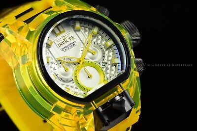 Invicta Men's 52mm Bolt Zeus Magnum Lemon Yellow Silicone Band White Dial Watch