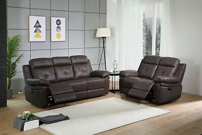 New Recliner Leather Sofa Set Rocking Grey Brown 3 + 2 Seater