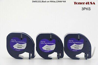 3 Pk Lt 91331 Plastic Letratag Refill Fit For Dymo Label Maker Tape 12mm White