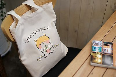 Korea Lovely Cute hamster character Chewyhams cotton Eco Bag shoulder bag-Ivory