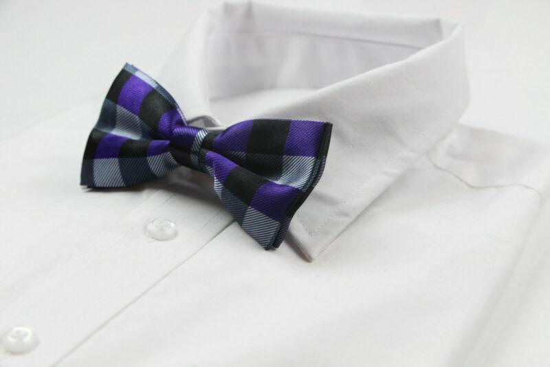 Mens Black Purple Silver Bow Tie Pre-tied Men Bowtie Wedding Formal Ties Tuxedo