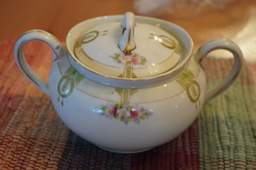 VINTAGE JAPANESE NIPPON HAND PAINTED SUGAR BOWL FREE SHIPPING!