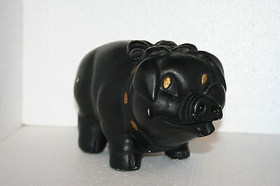 Vintage Painted Black Ceramic Piggy Savings Bank Bow With Neck Bow #189048 Cork