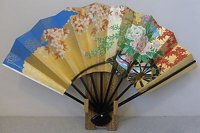 Vintage Japanese Geisha Odori 'Maiogi' Folding Reversible Dance Fan with Bamboo