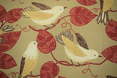 """Linen Gold Song Bird Red Upholstery Drapery Print Decorative Pillow Fabric 55""""W"""