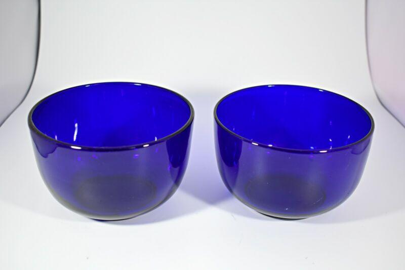 "Set of 2 Antique Victorian Cobalt Blue Blown Glass Finger Bowls ~ 4.5"" x 3.75"""