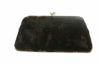 Vintage Garay Black Velvet Purse Clutch Evening Bag Kiss Lock