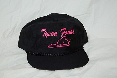 Vintage Tyson Foods Richmond Virginia Black And Pink Trucker Cap Hat With Cord