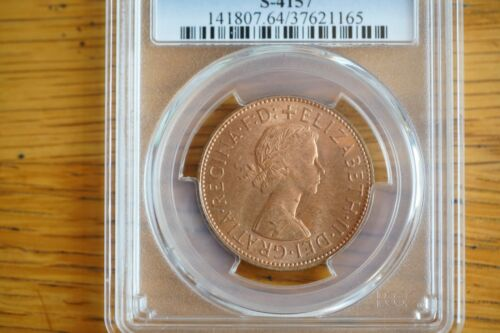 1966 GREAT BRITAIN ONE 1 PENNY PCGS MS64RD S-4157