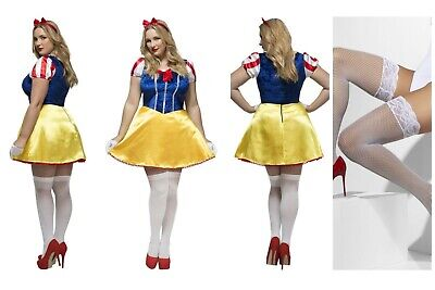 Womens Plus Size Curves Fairytale Snow White Bo Peep Fancy Dress & FREE Holdups  (Mardi Gras Costumes Plus Size)