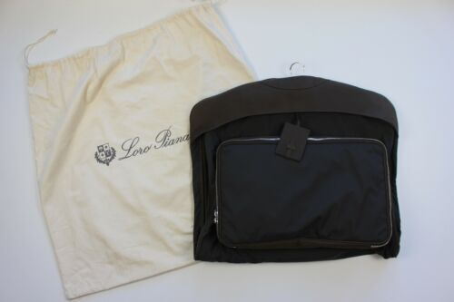 Loro Piana Suit Bag- Black With Brown Leather- Made In Italy