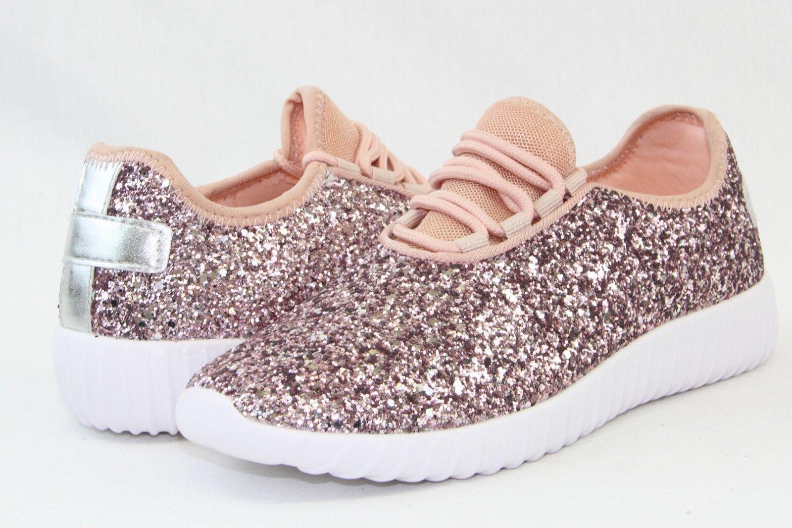 Women Sequin Glitter Sneakers Tennis Lightweight Comfort Walking Athletic Shoes