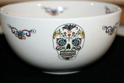 "Sugar Skull Gothic Candy Dish Spirit Halloween Ceramic Bowl 6"" Wide"