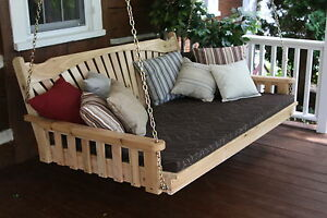 Outdoor 6 Foot Fanback Swing Bed Unfinished Pine Oversize
