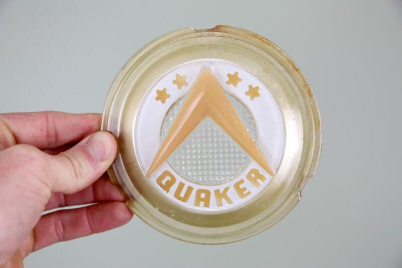 Vintage QUAKER OIL STOVE Door Glass Insert Medallion EMBLEM BADGE ANTIQUE STAR
